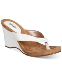 Styleandco. Style Co Chicklet Wedge Thong Sandals Created For Macy's Women's Shoes White