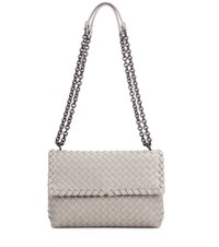 Bottega Veneta Olimpia Small Intrecciato Leather Shoulder Bag Grey