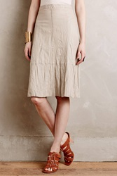 Burning Torch Alamosa Crinkled Leather Skirt Ivory