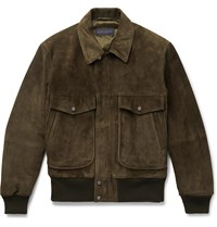 Thom Sweeney Suede Bomber Jacket Green