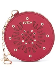 Furla 'Babylon' Coin Purse Keyring Red