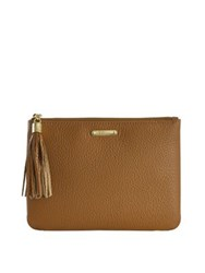 Gigi New York All In One Pebbled Leather Clutch Ivory Green Navy