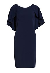 Gina Bacconi Moss Crepe Dress With Beaded Edge Cape Navy