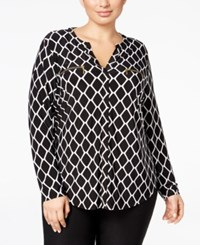 Inc International Concepts Plus Size Printed Zip Pocket Shirt Only At Macy's Geo Print
