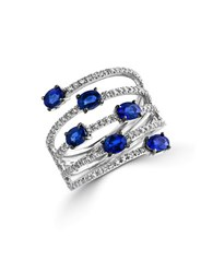 Effy Royale Bleu Sapphire Diamond And 14K White Gold Spiral Ring Blue