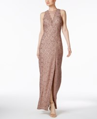 Nightway Sequin Lace Gown Taupe