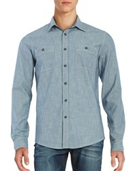Dockers Pinstriped Chambray Shirt Blue