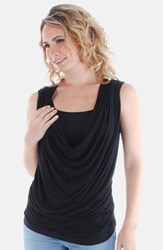 Women's Everly Grey 'Carla' Drape Maternity Top Black