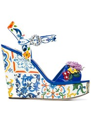 Dolce And Gabbana Floral Wedged Sandals Multicolour