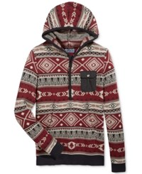 American Rag Men's Geo Stripe Anorak Sweater Only At Macy's Deep Ruby