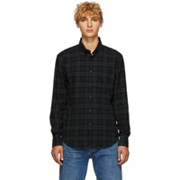 Naked And Famous Denim Green Navy Check Shirt