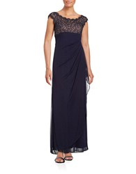 Xscape Evenings Petite Lace Trimmed Chiffon Gown Navy