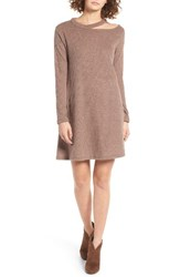 Cotton Emporium Women's Ripped Neck Sweater Dress Mocha