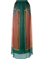Mes Demoiselles Pleated Sheer Long Skirt Pink And Purple