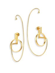 Paula Mendoza Bow Adjustable Ear Jacket And Hoop Earrings Set 1.25 Gold