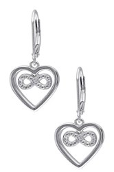 Sterling Silver Diamond Heart And Infinity Leverback Earrings 0.03 Ctw Gray