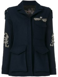 Ash Single Breasted Embellished Coat Polyester Wool Recycled Polyester Blue