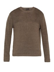 Iris Von Arnim Felix Contrast Stitch Linen Sweater Brown