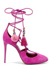 Dolce And Gabbana Embellished Lace Up Suede Pumps Fuchsia