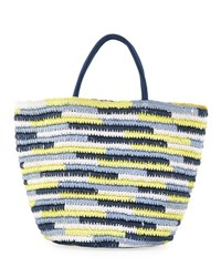 Neiman Marcus Hannah Paper Straw Tote Bag Yellow Pattern