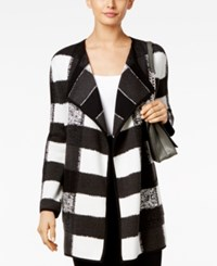 Alfani Patterned Open Front Cardigan Only At Macy's Texture Patchwork Gray