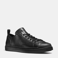 Coach C114 Leather Lo Top Sneaker Black Black