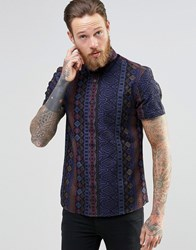 Asos Shirt With Aztec Print In Blue With Short Sleeves In Regular Fit Black