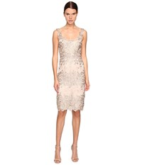 Marchesa Palm Embroidered Sheath Cocktail Dress Nude