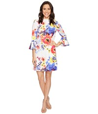 Tahari By Arthur S. Levine Bell Sleeve Floral Shift Dress Ivory Coral Royal Women's Dress Multi