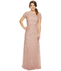 Adrianna Papell Petite Short Sleeve Scoop Back Fully Beaded T Shirt Gown Antique Rose Women's Dress Pink