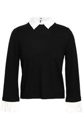 Alice Olivia Woman Aster Convertible Poplin Trimmed Wool Blend Sweater Black