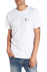 True Religion Men's Silver Buddha T Shirt Optic White