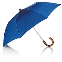Barneys New York Chevron Pattern Folding Umbrella Blue