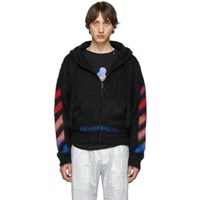 Off White Black And Multicolor Brushed Mohair Diag Hoodie