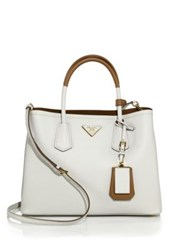 Prada Medium Bicolor Leather Satchel Caramel Grey White