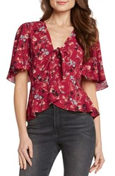 Willow And Clay Tie Front Flutter Sleeve Top Scarlet