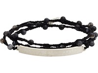 Feathered Soul Men's Agate Bead And Silk Bracelet With Hammered Silver Id Plate