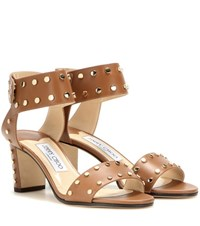 Jimmy Choo Veto 65 Embellished Leather Sandals Beige