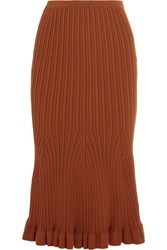 Victoria Beckham Fluted Ribbed Knit Stretch Cotton Midi Skirt Brown