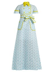 Delpozo Pagoda Embroidered Organdie Dress Blue Multi