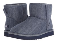 Ugg Classic Mini Washed Denim Navy Denim Men's Pull On Boots Blue