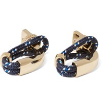 Miansai Cord And Gold Plated Screw Cufflinks Navy