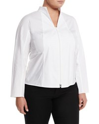 Lafayette 148 New York Zip Front Blouse White