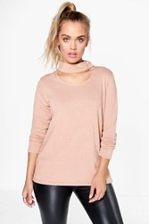 Boohoo Emma Cut Out Neck Knit Jumper Nude