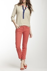 Level 99 Lilly Cropped Skinny Straight Leg Jean Orange