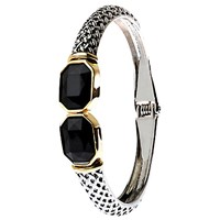 Adele Marie Jet Hinged Bangle Silver Gold