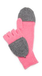White Warren Pop Top Cashmere Mittens Graphite Tween Neon Azalea