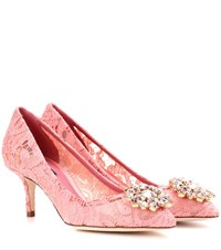 Dolce And Gabbana Bellucci Embellished Lace Pumps Pink