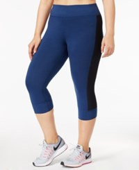Ideology Plus Size Performance Cropped Leggings Only At Macy's Blue Opal