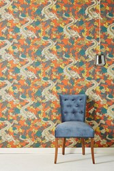Dwellstudio Dragon Wallpaper Orange